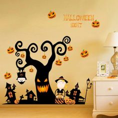 MrS Shop Large Happy Halloween Vinyl Wall Stickers For Kids Rooms Window Background Home Decor Poster Mural Papers For Halloween Decoration -- Click image for more details. (This is an affiliate link) Halloween Vinyl, Halloween Cartoons, Wall Stickers Halloween, Halloween Wall Decor, Spooky Halloween Decorations, Halloween Party Supplies, Halloween Trees, Wall Decor Stickers, Halloween Pumpkins