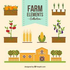 Several flat farm things Free Vector