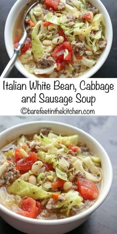 Italian White Bean, Cabbage, and Sausage Soup is a fall favorite! get the recipe… Italian White Bean, Cabbage, and Sausage Soup is a fall favorite! get the recipe at barefeetinthekitc… White Bean Soup, White Beans, Cabbage And Sausage, Bean And Sausage Soup, Italian Sausage Soup, Italian Bean Soup, Italian Sausages, Hot Sausage, Cabbage Soup Recipes