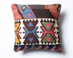 Turkish Kilim Pillow Cover Bohemian Pillow Cover by BohoTrunk, $39.90