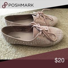 Beige Ballet Flats Like new ballet flats super cute with rhinestones all around them size 5.5 Shoes Flats & Loafers