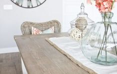 In my DIY Farmhouse Table and Bench post, I talked all about building my table from scratch.This post is all about how I got my DIY Weathered Wood… Best Wood For Furniture, French Furniture, Painted Furniture, Furniture Design, Painting Light Fixtures, Pendant Light Fixtures, Diy Farmhouse Table, Corner Table, Weathered Wood