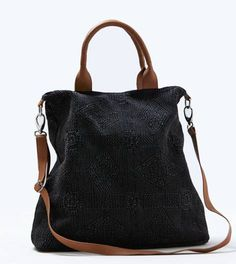 Black Textured Tote