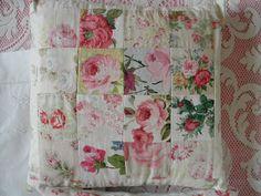 vintage patchwork roses cushion