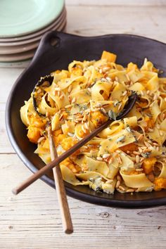 Pappardelle with Butternut and Blue Cheese - Nigella Pasta Recipes, Cooking Recipes, Lasagna Recipes, Veg Recipes, Lunch Recipes, Vegetarian Recipes, Casseroles, Butternut Squash, Butternut Soup