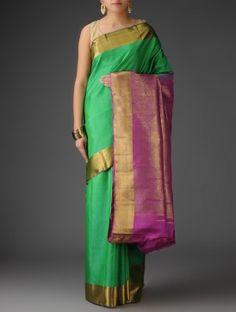 Green-Fuschia Zari Silk Handwoven Kanjivaram Saree