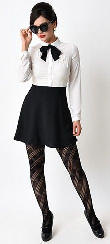1960s Mod Style Black & White Color Block Sleeved Flare Dress