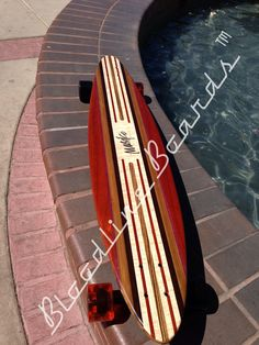 Bamboo 3 ply base with exotic wood inlays Longboard Decks, Bamboo Longboard, Longboard Design, Skateboard Design, Skateboard Decks, Wooden Surfboard, Surfboard Art, Custom Longboards, Board Skateboard