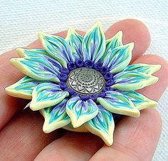 Flower Pendant handsculpted polymer clay Yellow by ZudaGay on Etsy, $10.00