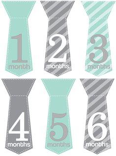 Monthly Baby Boy Tie Stickers Milestone Stickers by MaddiesMomE