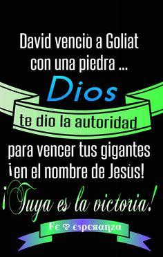 David venció a Goliat con una piedra... Dios te dio la autoridad para vencer tus gigantes ¡en el nombre de Jesús! ¡Tuya es la victoria!