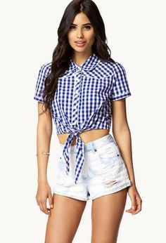 a98b843c FOREVER 21 Cropped Gingham Shirt on shopstyle.com Gingham Shirt, Button  Downs, Button