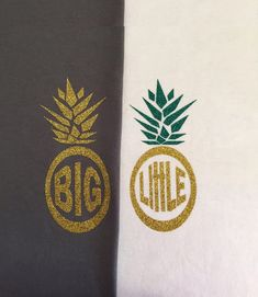 big little pineapple glitter iron on monogram by colormeuncommon
