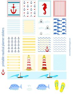 Free printable nautical planner stickers - ausdruckbare DIY Sticker - freebie | MeinLilaPark – DIY printables and downloads