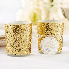 Gold Glitter Tea Light--Decor/Prize if we go with glitter theme Great site for cheap glittered items!