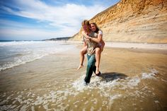 engagement, piggyback on the beach
