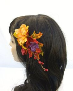 Autumn Style Hair Clip Fall Leaves and Flowers by RuthNoreDesigns, $24.00