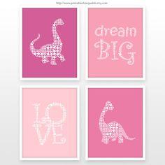 Girl nursery decor Dinosaur art print Gift by PrintableChangeable, $16.00