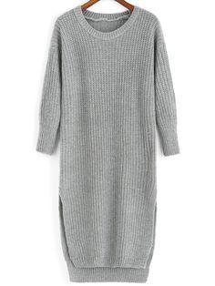 Slit High Low Grey Sweater Dress 15.79