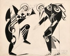 Attributed to Natalia Sergeevna Goncharova (Russian, 1881-1962), Costume Design for Liturgie: The Annunciation (The Virgin and Gabriel) The Robert Bunting Dance Collection