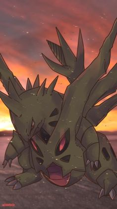Day 584 B - Mega Bangiras | メガバンギラス | Mega Tyranitar Bangiras allows its shadow within to rapidly increase its power. A constant sandstorm swirls ar...