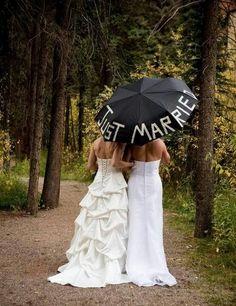 Just Married, Cute Lesbian Wedding Ideas, http://hative.com/cute-lesbian-wedding-ideas/,