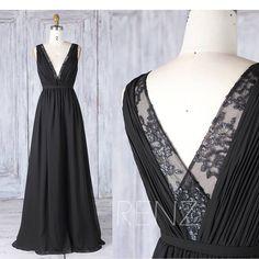2017 Black Chiffon Bridesmaid Dress,Deep V Neck Wedding Dress,Lace V Back Prom Dress, Ruched A Line Formal Dress Floor Length (H493)
