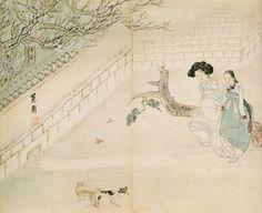 Korean Traditional art by Shin Yun-bok Modern Pictures, Comic Pictures, Korean Art, Asian Art, Korean Traditional, Traditional Art, Korean Painting, Under The Moon, T Art