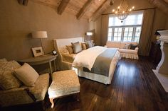 I want to have a master bedroom like this one day...LOVE the floors, the firespace, the ceilings, the furniture...LOVE it ALL!