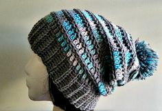 Grey Gray Blue Stripe Slouch  Crochet Slouchy by YarnOverDesign