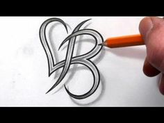 Tattoo heart with a B