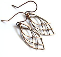 Celtic Leaf Earrings - Antiqued Copper Wire Wrapped - Elven Elvish Celtic Knot Teardrop Dangle Earrings