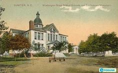 Washington School on the corner of Washington and West Liberty in Sumter, SC. It was wonderful with a skylight floor you could walk on. There is a Well Fargo Built in 1892 and razed in the early 70s. Wells Fargo Bank there today.