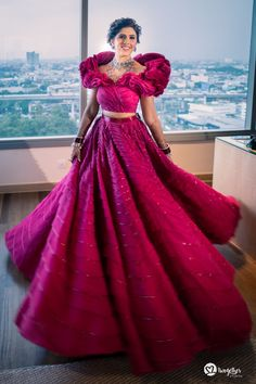 An Elegant Wedding With Customised Bridal Outfits & A Powder Blue Bridal Saree Indian Gowns Dresses, Indian Fashion Dresses, Red Gowns, Unique Dresses, Skirt Fashion, Bridal Lehenga, Lehenga Choli, Pakistani Bridal, Gold Lehenga