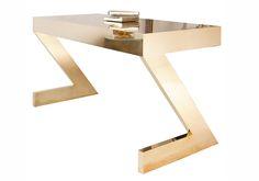 Zeta Desk Console Table Art Deco, Metal, Desks Writing Table by Birgit Israel Modern Art Deco, Modern Desk, Table Furniture, Furniture Design, Art Deco Desk, Unique Desks, Workspace Inspiration, Writing Table, Mid Century Modern Art