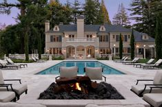 Nice pool view with a fire!