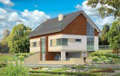 Projekt Dom Na Górce to bardzo funkcjonalny dom o zwartej bryle, nowoczesnym wyrazie i prostej formie. Bryła budynku została wkomponowana w skarpę na działce - naturalną lub sztuczną. Ukryto dzięki temu obszerną piwnicę z garażem i wiatą. Dzięki zaprojektowanej wiacie garażowej, która wycina narożnik domu u jego podstawy, bryła stała się bardziej dynamiczna. Wnętrze rozwiązano w autorski sposób, wprowadzając wiele oryginalnych rozwiązań, przez co dom będzie sprawiał wrażenie…