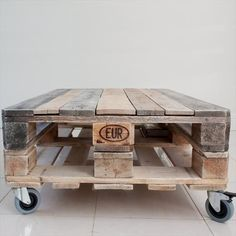 Pallet Tables Pleasant Industrial Coffee Table On Wheels About Home Interior Design Remodel. Furniture, Industrial Coffee Table On Wheels Coffee Table With Wheels, Diy Coffee Table, Coffee Table Design, Table Base Palette, Palette Diy, Crate Furniture, Diy Pallet Furniture, Repurposed Furniture, Refurbished Furniture