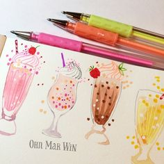 I got some nice results from my luminous gel pens on these milkshakes 77/365…
