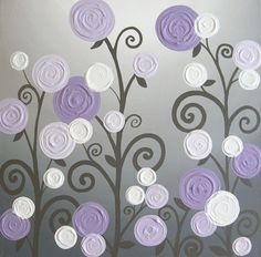 Lavender and Grey Textured Nursery Art    Original Acrylic Painting on Canvas    Size: 20x20 Square  Depth: 1.5  Color: Pretty lavender/ purple