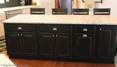 Rustic #black #island in #white #kitchen. | VillageHomeStores.com