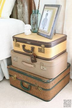 4. #Suitcases for a Side Table - #Inspiring Decor #Ideas to Satisfy Your #Wanderlust ... → DIY #Themed
