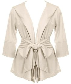 Gift Wrapped Jacket: Features a long lapel and open-style front, 3/4-length sleeves, fully adjustable ribbon belt at waist, and a convenient back hoodie to finish.