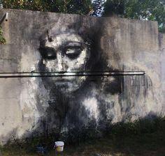 La Rouille woman portrait mural