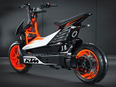 The stunning KTM E-SPEED is all about urban mobility, a state-of-the-art electric scooter concept by Austrian motorcycle manufacturer KTM. Scooter Design, Bike Design, Scooter Custom, Custom Bikes, Scooter Price, Scooter Scooter, Vespa Bike, Duke Bike, Ktm Duke