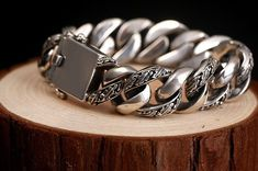 Men's Jewelry Silver Wide 925 Sterling Bracelet Men S Heavy Link Chain Biker New #Unbranded #Chain #men'sjewelry