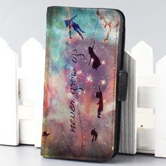 peter pan never grow up galaxy Disney wallet case for iphone 4,4s,5,5s,5c,6 and samsung galaxy s3,s4,s5 - LSNCONECALL.COM