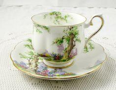 Royal Albert Greenwood Tree Tea Cup and Saucer, Vintage Bone China