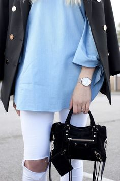 Designer bag Balenciaga on UK fashion blog with white rip jeans and blazer - street style inspiration