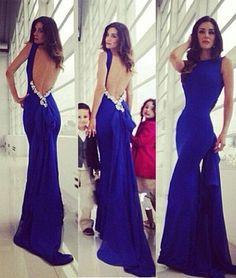 Simple backless long Royal blue prom dress, blue evening dress